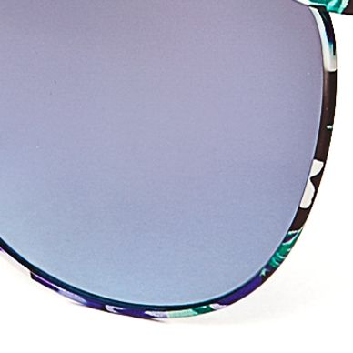 Womens Sunglasses: Blue Jessica Simpson Round Metal Floral Sunglasses