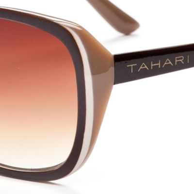 Womens Sunglasses: Brown TAHARI™ Glam Rectangle Sunglasses