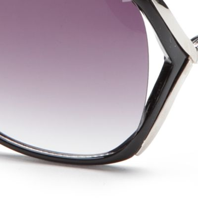 Oversized Sunglasses: Black TAHARI™ Rhinestone Vented Sunglasses