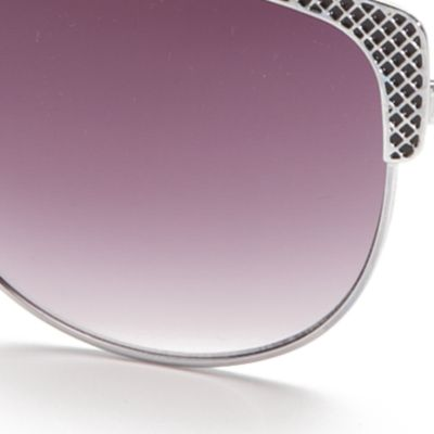 Cat Eye Sunglasses: Silver / Black TAHARI™ Cat Eye Sunglasses