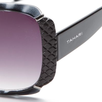 Womens Sunglasses: Black TAHARI™ Glam Rectangle Sunglasses