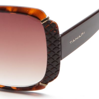Rectangle Sunglasses: Tortoise TAHARI™ Glam Rectangle Sunglasses