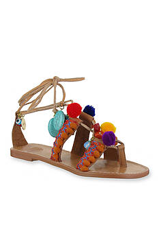 MIA Renata Pom Pom Ankle Tie Sandals