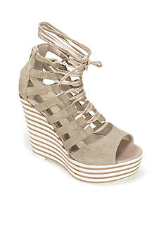 Summit White Mountain Glynda Italian Suede Laceup Wedge Sandal