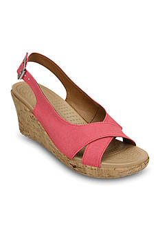 Crocs A-leigh Linen Cork Wedge Sandal