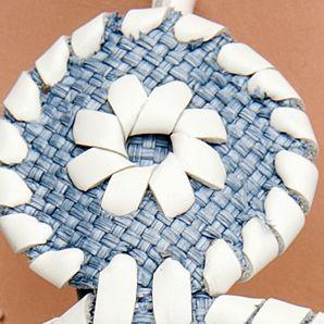 Flat Sandals for Women: Blue Raffia Jack Rogers Raffia Navajo Sandal