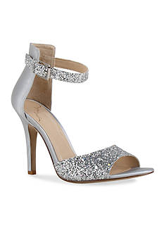 Kay Unger New York Satin and Glitter Ankle Strap Sandal