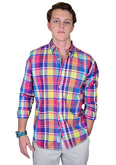 Vintage 1946 Long Sleeve Woven Madras Plaid Shirt