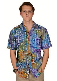 Vintage 1946 Batik Print Purple Short Sleeve Shirt