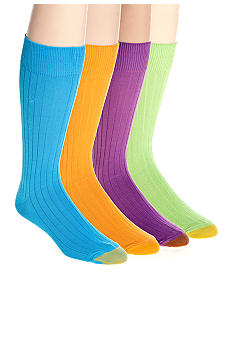 Gold Toe Bright Color Solid Rayon Rib Socks - Single Pair