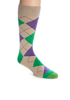 Goldtoe Combed Cotton Argyle Crew Socks - Single Pair