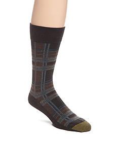 Goldtoe Box Plaid Crew Socks - Single Pair
