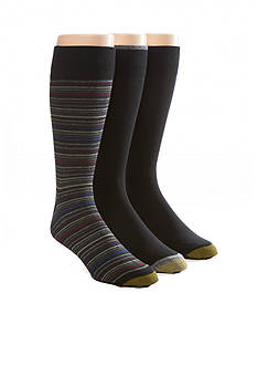 Gold Toe Big & Tall Fashion Multi Stripe And Solid Socks - 3 Pack