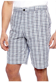 Dockers Flat Front Deck Blue Plaid Shorts
