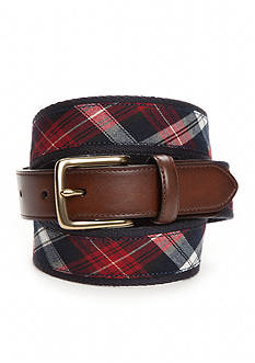 Saddlebred Navy Red Plaid Belt