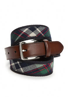 Saddlebred Navy Green Plaid Belt