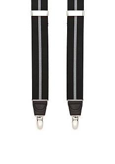 Saddlebred 35-mm. Single Stripe Stretch Clip Suspenders