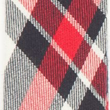 Suspenders: Red Saddlebred 32-mm. Plaid Non-Stretch Clip Suspenders