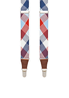 Saddlebred Tubular Plaid Non-Stretch Clip Suspenders