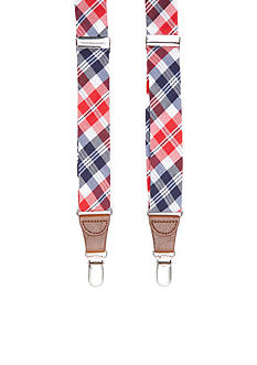 Saddlebred 1.26-in. Tubular Red, White & Blue Check Stretch Clip Suspenders