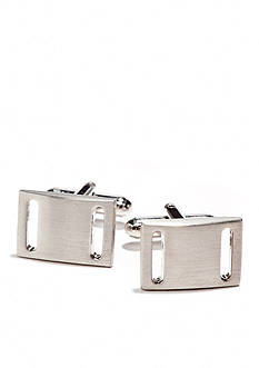Saddlebred Nickel Rectangle Cutout Cufflinks