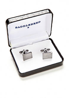Saddlebred Gunmetal Concave Rectangle Cufflinks