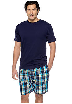 Izod Plaid Seersucker PJ Short Set