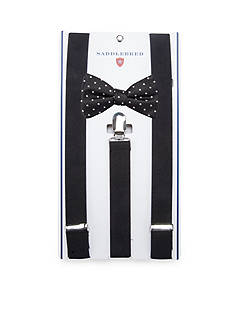 Saddlebred Pre-Tied Island Dot Bow Tie & Suspender Boxed Set