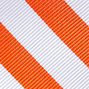 Men: Neckties Sale: White/Orange Saddlebred College Rubgy Stripe Tie