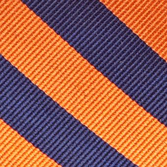 Men: Neckties Sale: Ornage/Navy Saddlebred College Rubgy Stripe Tie