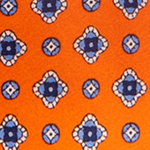 Young Mens Neckties: Orange Saddlebred Nice Print Neat Tie