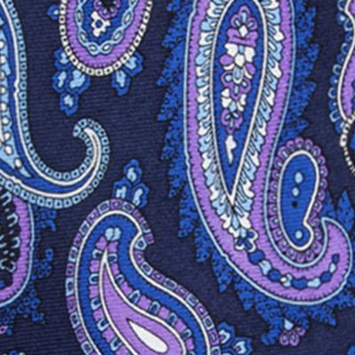 Young Men: Saddlebred Accessories: Navy Saddlebred Samoa Paisley Tie