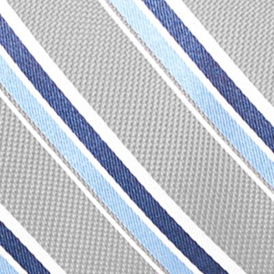 Young Men: Saddlebred Accessories: Silver Saddlebred Venice Satin Stripe Tie
