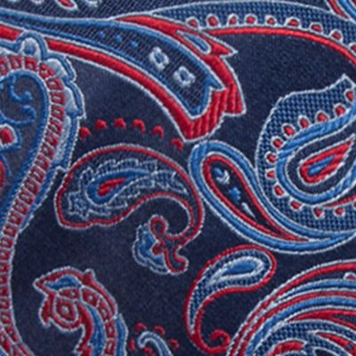 Young Men: Saddlebred Accessories: Navy/Red Saddlebred Salford Paisley Tie