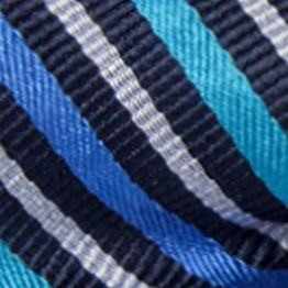 Bow Ties for Men: Navy/Aqua Saddlebred Self-Tie Walter Reversible Stripe and Grid Bow Tie