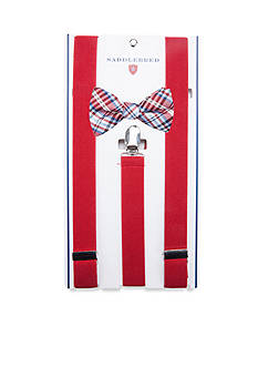Saddlebred Pre-Tied Irin Grid Bow Tie & Suspender Boxed Set