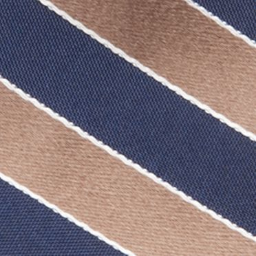 Big and Tall Ties: Taupe Saddlebred Extra Long Salem Navy Stripe Tie