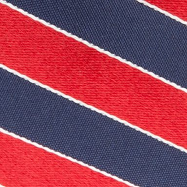 Saddlebred: Red Saddlebred Extra Long Salem Navy Stripe Tie