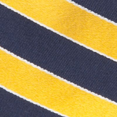 Big and Tall Ties: Yellow Saddlebred Extra Long Salem Navy Stripe Tie