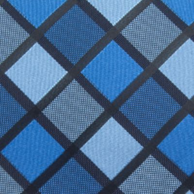 Big and Tall Ties: Blue Saddlebred Extra Long Jacob Grid Tie