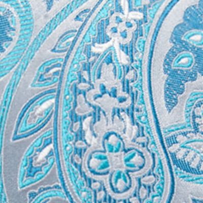 Big & Tall: Saddlebred Ties: Aqua Saddlebred Extra Long Victor Paisley Tie