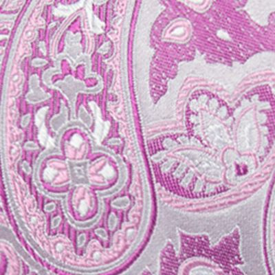 Big & Tall: Saddlebred Ties: Pink Saddlebred Extra Long Victor Paisley Tie