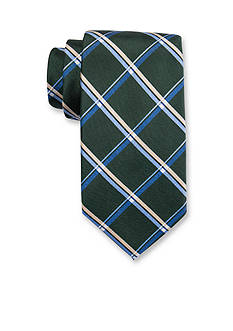 Saddlebred Extra Long Foliage Grid Print Tie