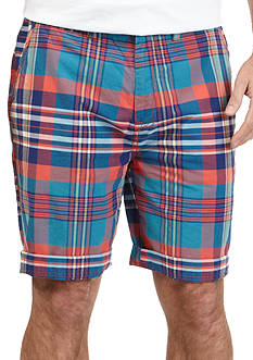 Nautica Jeans Company Trim Fit Flat Front Plaid Shorts