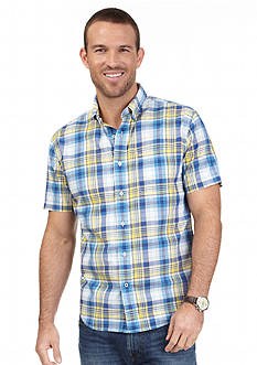 Nautica Jeans Company Short Sleeve Mini Plaid Woven Shirt