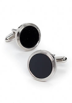 Geoffrey Beene Boxed Circle Black Cuff Links
