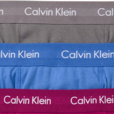 Men: Boxer Briefs Sale: Gray/Maroon/Blue Calvin Klein Classic Boxer Briefs - 3 Pack