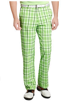 Izod Golf Flat Front Plaid Pants