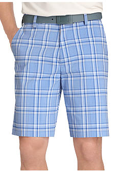 Izod Flat Front Plaid Shorts