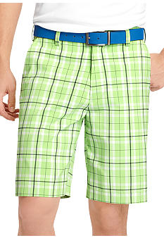 Izod Golf Flat Front Plaid Shorts
